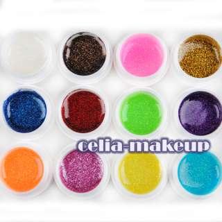 Color GLITTERY GLITTER UV GEL Builder NAIL ART Polish Set Tips Kit 414