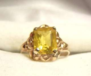 VINTAGE 10K GOLD CITRINE RING SOLID GOLD ART DECO RING 13TH WED ANNIV