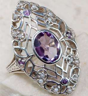 Natural Amethyst Seed Pearl 925 Sterling Silver Victorian Style Ring