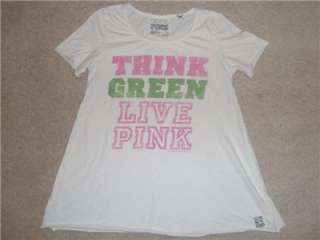 VICTORIAS SECRET LOVE THINK GREEN LIVE PINK Dog Tee T Shirt Recycle