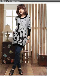Womens Scoop Neck Long Tunic Sweater with Cute Print US Sz S M L XL