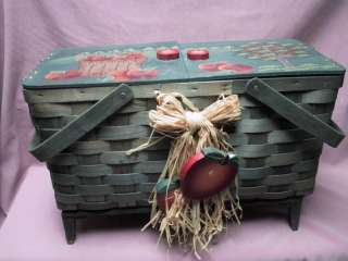 Vintage Woven Sewing / Yarn / Crafts Storage Chest Wood Legs