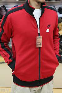 Nike Scarlet Red Jet Black Authentic Mens Zip Up Track Jacket With