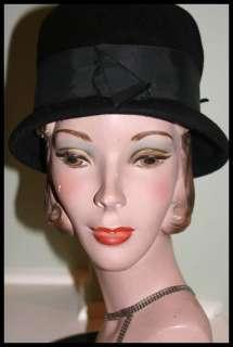 VTG HAT ~ Black Wool Felt HENRY POLLAK GLENOVER ~ 20.5