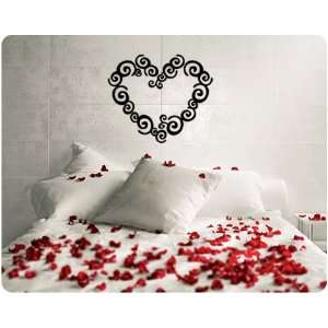 Heart Shape Swirl Love Valentines Day Saying Wall Decal Decor Words