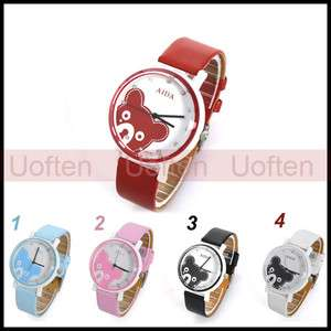 Cute Lady Girl Women Wristwatch Rhinestone Bear Quartz Soft Leather