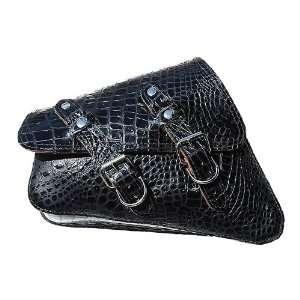 Sportster Black Alligator Design Leather Saddle Bag
