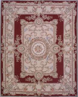 8x10 BURGUNDY NEEDLEPOINT AUBUSSON HAND KNOTTED WOOL AREA RUG CARPET
