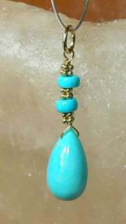 RARE NATURAL UNTREATED ARIZONA SLEEPING BEAUTY TURQUOISE 14K GOLD