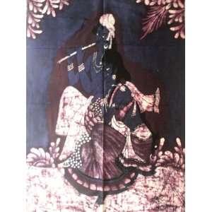 Hindu God Lord Krishna & Radha Indian Gods Batik Tapestry Fabric Wall