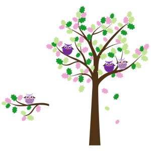 Children Owl Tree Decal with Round Owls   Baby Nursery Decor Wall