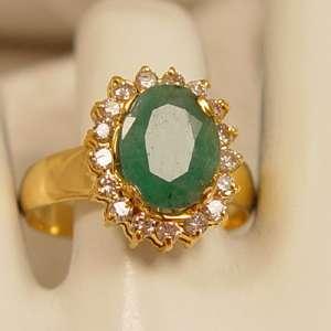 Antique Emerald & White Diamond 14Kt Gold Ring~ ESTATE