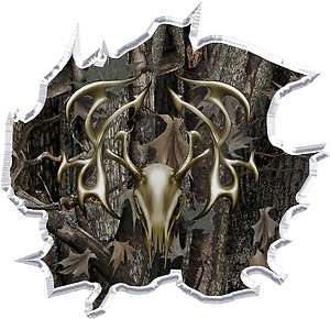Ripped oak camo tribal deer hunting cornhole decal set