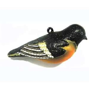 Baltimore Oriole Bird Ornament   Handblown in Glass