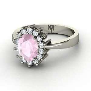 Diana Ring, Oval Rose Quartz 14K White Gold Ring with