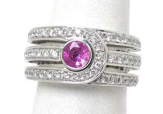 DI MODOLO 18k WHITE GOLD PINK SAPPHIRE & DIAMONDS RING