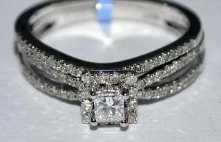 6CT DIAMOND WEDDING SET 14K WHITE GOLD ENGAGEMENT RING + BAND PRINCESS