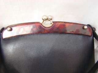 Vintage Art Deco Black Leather Tortoise Lucite or Bakelite Frame