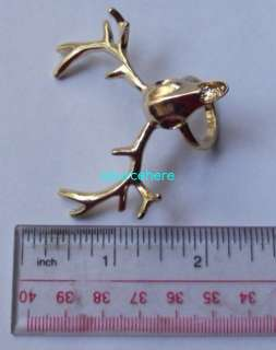 Womens Mens Gold Tone Deer Ring Cute Antler Vintage Anti Silver Rings