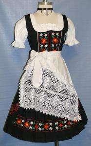 LONG / BLACK German Women Party Hostess Oktoberfest DIRNDL Dress 4 XS