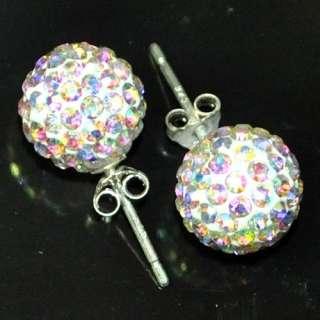 10mm 12mm 14mm Swarovski Crystal Disco Ball 925 Silver Studs Earrings