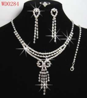 LoLot 6 Sets Crystal wedding/Bridal Necklace & Earrings