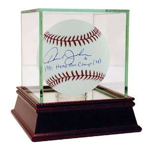 Autographed Baseball with 1991 Home Run Champ with Glass Display Case