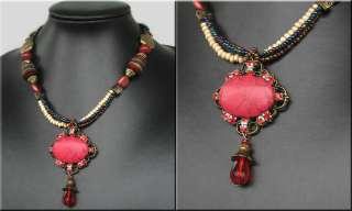 TIBET HANDMADE COPPER RED TURQUOISE CRYSTAL NECKLACE