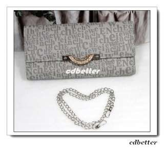 Womens Lady Fashion Letters Style Gray PU Bling Wallet Purse Chain