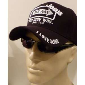 com Jesus the Only Way One Way Sign Christian Baseball Cap BLACK Hat