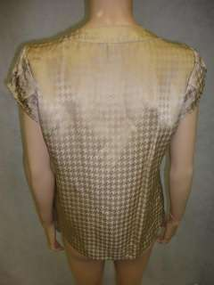 Republic Beige Sheen Silk Rayon Houndstooth Blouse Top Shirt S Small