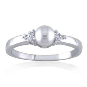 JUNE Birthstone Ring 14k White Gold Diamond & Pearl Ring Jewelry
