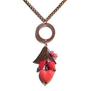 Black Cat Jewellery Store Red Heart & Antique Copper Pendant Jewelry