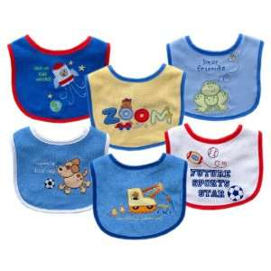 Embroidered 6 Pack Baby Bib Set, Blue Set [Baby Product