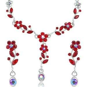 Siam Red Flower Petal Rhinestone SWAROVSKI CRYSTALS Silver