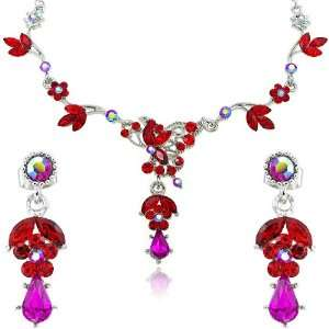 Siam Red Teardrop Crystal Rhinestone Flower Silver Necklace And