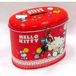 Red Hello kitty Coin Bank with Lock (OVAL) Everything