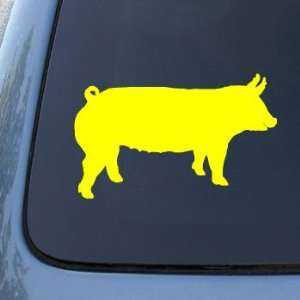 SILHOUETTE   Pig   Vinyl Car Decal Sticker #1523  Vinyl Color: Yellow