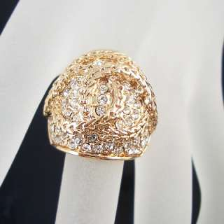 Gorgeous rhinestone Silver 18K gold plated ring R160