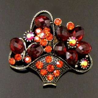 Item  1 pc antiqued rhinestone bouquet basket brooch pin