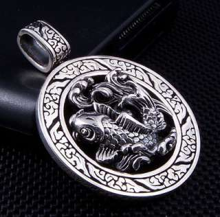 KOI TATTOO STERLING SILVER MENS PENDANT CHAIN NECKLACE