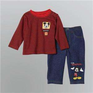 Disney Mickey Infant Boys Striped T Shirt and Jeans Set