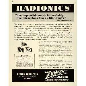 1943 Ad Zenih Radio Radionics Elecrical Engineering WWII