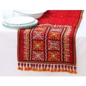 Table Runner with Hand Stitched Rabari Embroidery and