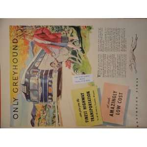 Greyhound Bus Lines Ad 1947 & Corbys Whiskey Ad 1947 double sided two