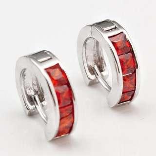 Circle Red Garnet Womens Earrings Studs Giftbox