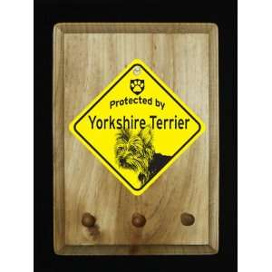 Puppy Cut Yorkie Yorkshire Dog Protected By Sign Key/Leash