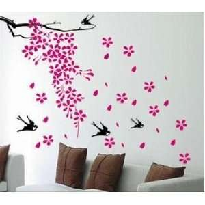 Falling flowers and Birds   Loft 520 Kids Nursery Home Decor Vinyl