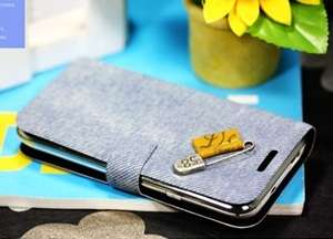 APPLE IPHONE 4G Diary Flip Case Cover DENIM +Cleaner
