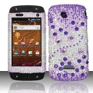 PURPLE GEMS Hard Plastic Rhinestone Bling Case for Samsung Sidekick 4G